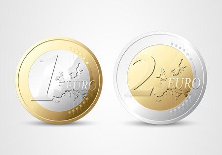 euro coin: 1 and 2 Euros - money concept Illustration