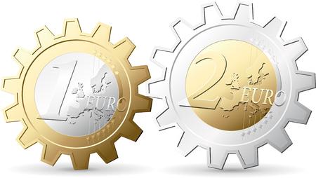 dinero euros: Euro Engranajes - concepto de dinero