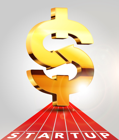 retribution: Golden dollar sign on a treadmill - express money transfer concept