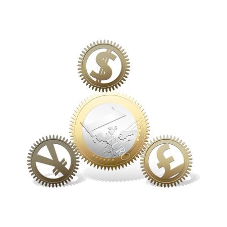 pile engine: Euro gears - money concept