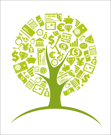 icon phone: Business tree - economic growth concept Illustration