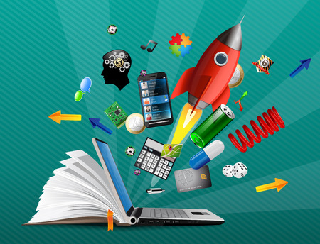 IT Communication - knowledge base, e-learning 矢量图像
