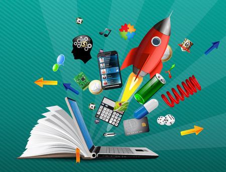 IT Komunikacja - baza wiedzy, e-learning Ilustracje wektorowe