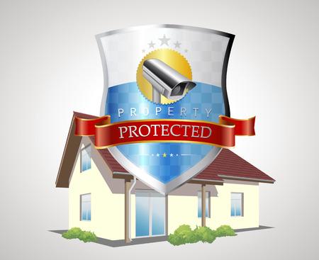 guardia de seguridad: Escudo de protección con casa - concepto de seguridad en el hogar