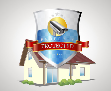 security monitor: Protection shield with house - home security concept