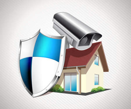 security monitor: House with protection shield - security concept