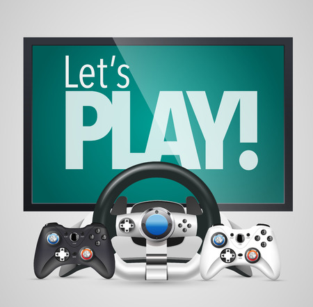 room to let: Game controllers - its time to play - steering wheel and gamepad Illustration