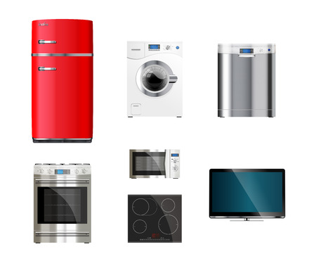 Kitchen and house appliances: microwave, washing machine, refrigerator, gas stove, dishwasher, TV.