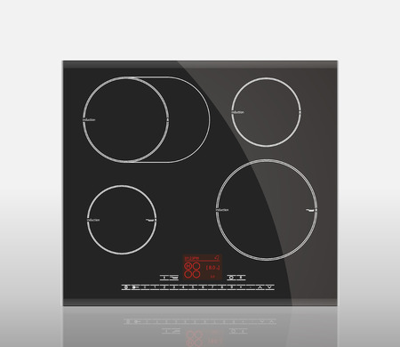 gas stove: Kitchen - Induction hob, household appliances Illustration