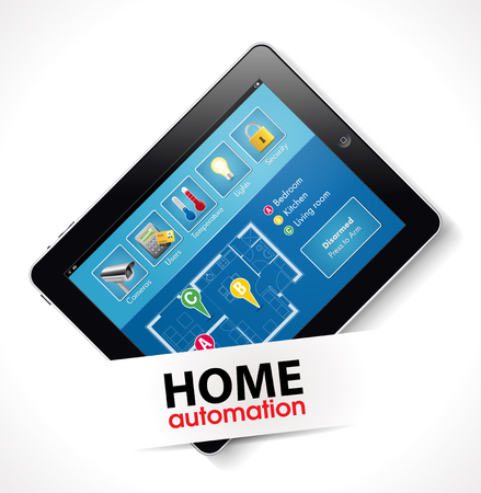 thermostat: Home automation - smart security and automated system Illustration