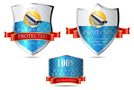 ラベル - セキュリティ カメラ、財産を保護、最高レベルのセキュリティ  イラスト・ベクター素材