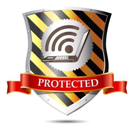 an antivirus: Computer security concept - Shield anti-virus and laptop Illustration