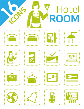 hotel bed: Icons - Hotel room