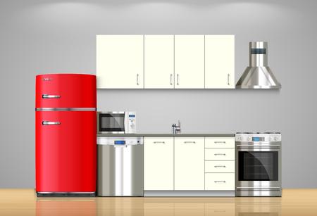 Keuken en huishoudtoestellen: magnetron, wasmachine, koelkast, gasfornuis, vaatwasser, TV.