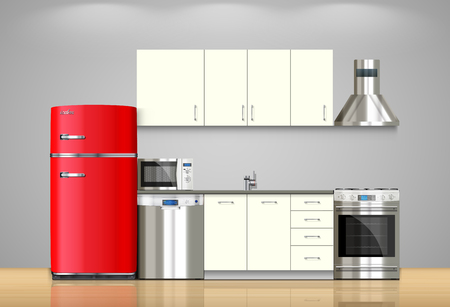 appliance: Kitchen and house appliances: microwave, washing machine, refrigerator, gas stove, dishwasher, TV.
