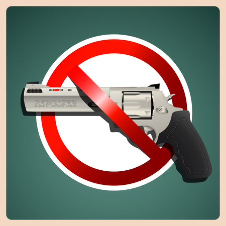 exterminate: Revolver - stop sign with handgun Illustration