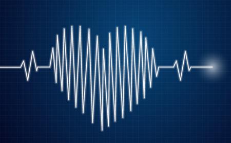 Heartbeat Sensor - hart lijn op moinitor Stock Illustratie