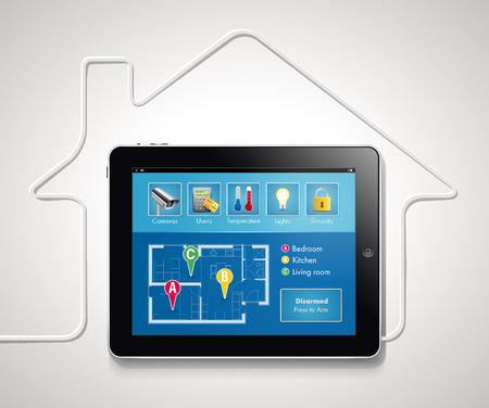 control system: Home automation - smart security and automated system Illustration