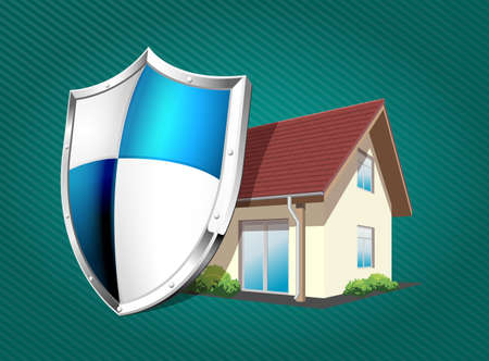 safeness: House with protection shield - security concept
