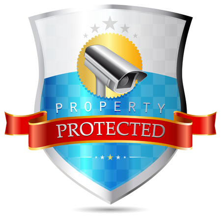 Labels - Security camera, property protected, Highest security Stok Fotoğraf - 48296057
