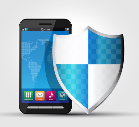 hack: Cellphone security, safety concept Illustration