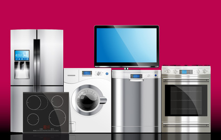 appliances: Kitchen and house appliances: microwave, washing machine, refrigerator, gas stove, dishwasher, TV.