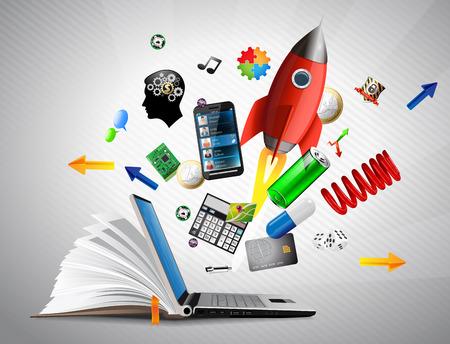 Base de conocimientos - Posibilidades de aprendizaje electrónico, compras en línea, la banca y la comunicación Ilustración de vector