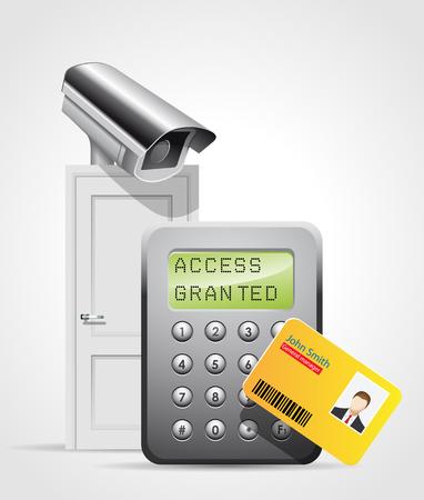 Toegangscontrole systeem - veiligheidsdeur - cctv bescherming binnenkomst Vector Illustratie