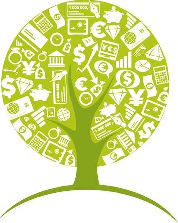 set of money: Business tree - economic growth concept Illustration