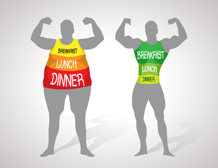 hombre fuerte: La grasa y el cuerpo delgado - concepto de estilo de vida saludable Vectores