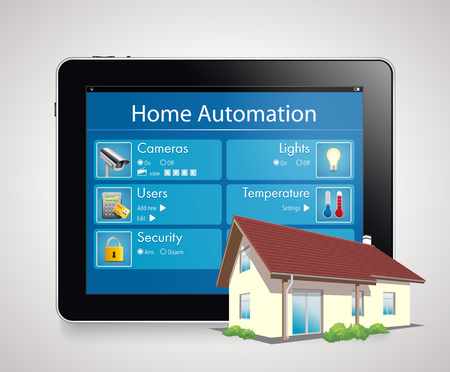home computer: Home automation - smart security and automated system Illustration
