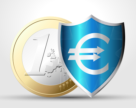1 euro: Money protection concept - 1 euro behind shield
