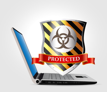 laptop computer: Computer security concept - Shield anti-virus and laptop Illustration