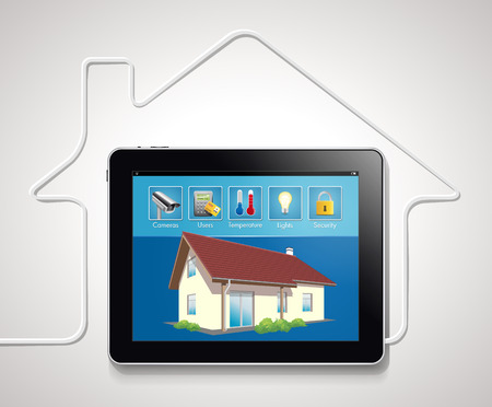 automated: Home automation - smart security and automated system Illustration
