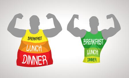 alimentos saludables: La grasa y el cuerpo delgado - concepto de estilo de vida saludable Vectores