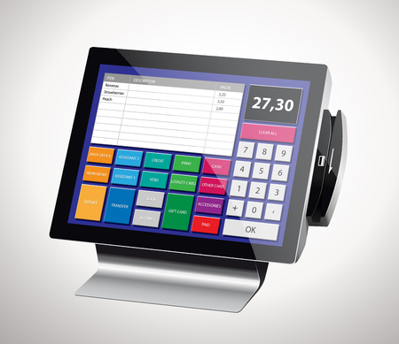 display: Cash register with bar code reader, credit card reader and printer receipts Illustration