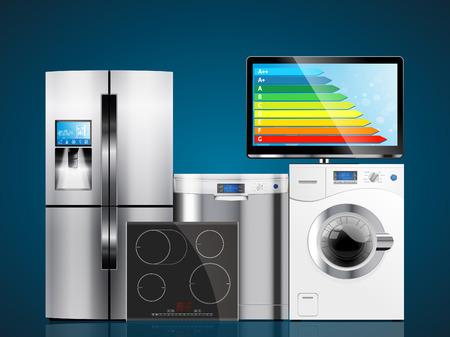 Kitchen and house appliances: microwave, washing machine, refrigerator, gas stove, dishwasher, TV. Stock fotó - 48295844
