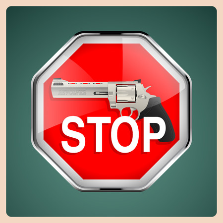 handgun: Revolver - stop sign with handgun Illustration