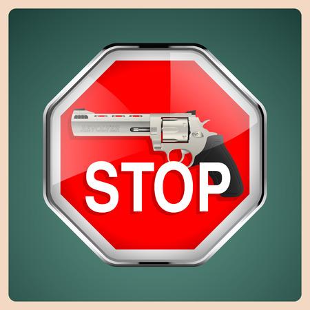 assassinate: Revolver - stop sign with handgun Illustration