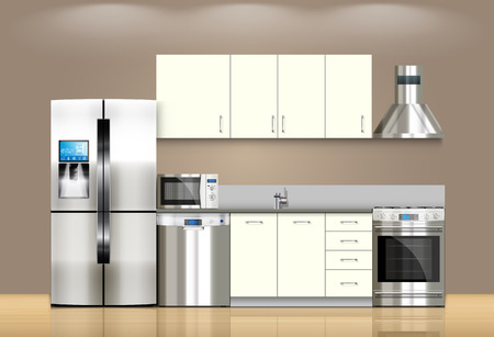 kitchen appliances: Kitchen and house appliances: microwave, washing machine, refrigerator, gas stove, dishwasher, TV.