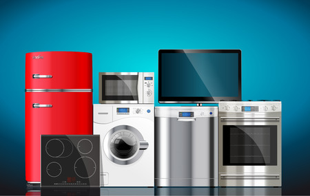 fridge: Kitchen and house appliances: microwave, washing machine, refrigerator, gas stove, dishwasher, TV.