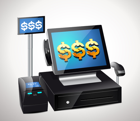 retail display: Cash register with bar code reader, credit card reader and printer receipts Illustration