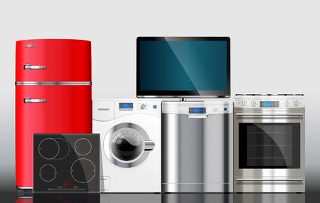 De cuisine et de maison appareils: micro-ondes, lave-linge, réfrigérateur, cuisinière à gaz, lave-vaisselle, TV.