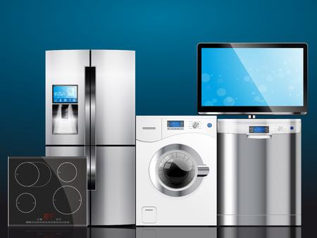 Kitchen and house appliances: microwave, washing machine, refrigerator, gas stove, dishwasher, TV. Stock fotó - 48295632