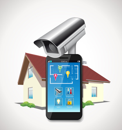 Home automation - CCTV and mobile application on a smartphone Reklamní fotografie - 48295639