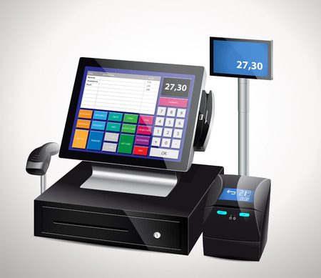 paying: Cash register - modern device Illustration