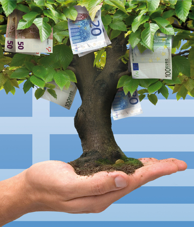 economic depression: Money tree - Greek crisis
