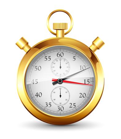 Golden stopwatch on a white background Stock Illustratie