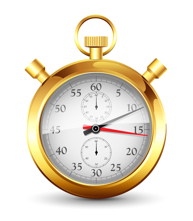 Golden stopwatch on a white background Illustration