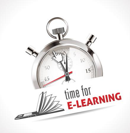 Stoppuhr - Zeit für E-Learning Illustration